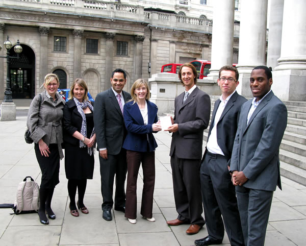 From right to left: Anthony Takyi of CMS Cameron McKenna, Seb Donovan - Director of Top Employers, Luke Bell – Intern of the Year 2009, Rosey Village - of the Bank of England, Saleem Arif - Director of Top Employers, Caroline Edwards and Miriam Beastall of Lloyds TSB