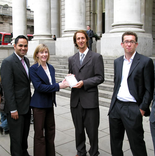 From right to left: Seb Donovan - Director of Top Employers, Luke Bell - Intern of the Year 2009, Rosey Village of the Bank of England, Saleem Arif - Director of Top Employers